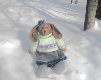 Bunny Rabbit Toy Knitted Toy Amigurumi Toy Bunny Kids Animal Handmade Knitted Bunny Plush Knit Toy Kids Toy Plush Doll Kids Gift Stuffed Toy