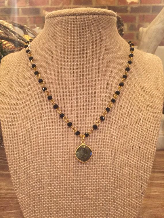Black crystal rosary with labradorite pendant