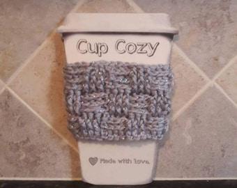 Cup sleeve/Coffee sleeve Crochet basketweave