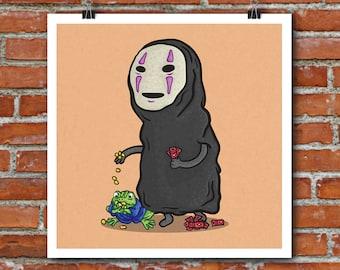 Studio Ghibli No Face art print