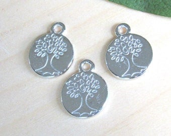 Tiny Silver tree charms, set of 10, Tree of life pendants, Tree of life charms, tree pendant, silver tree of life, carved tree pendant