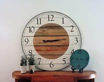 Large Wall Clock ,Wall Clock,Rustic Clock,Painted Clock,Big Clock, Wooden Clock, Clock,Farmhouse Clock,Wedding gift,Home Decor,HandmadeClock