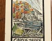 Cinque Terre Block Print Watercolor
