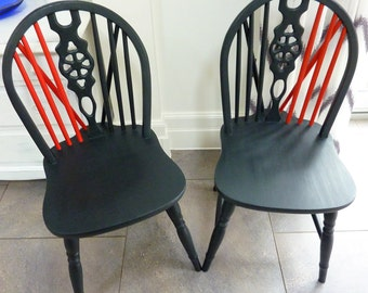 Unique Pair Of Painted Wheel Back Kitchen Chairs Oak Wooden Dining Chairs