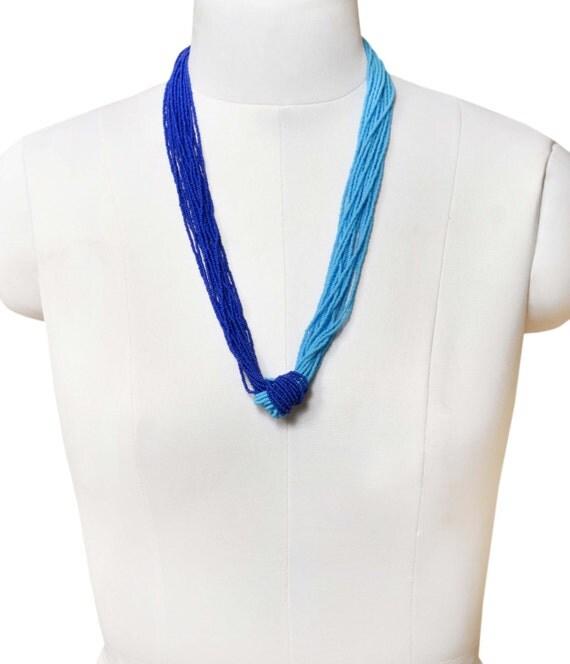 Blue Multistrand Vibrant Casual Chic Necklace