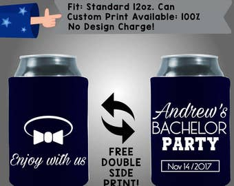 Enjoy With Us Andrew's Bachelor Party Date Neoprene Wedding Can Cooler Double Side Print (Bach28)