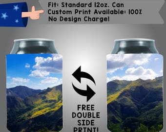 Landscape Mountains Photo Full Color Heat Sub Collapsible Neoprene Can Cooler (HeatSub-4)