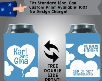 You Take Me Higher Names Date City State Collapsible Fabric Wedding Can Coolers, Cheap Can Coolers,  Wedding Favors (W294)