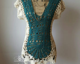 Crocheted Top//Summer Top// Swimsuit Cover