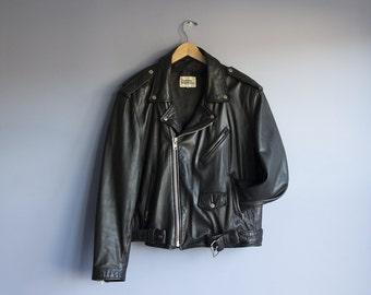 "Vintage Leather Motorcycle Jacket | Mens ""The Leather Warehouse"" Biker Jacket | Real Leather Mens size 46 Medium Jacket"