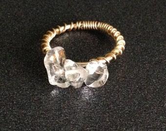 Clear Quartz Trio Ring