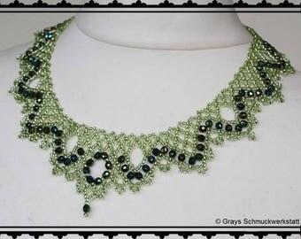 "Necklace ""Saphira"" - glass beads, threaded"