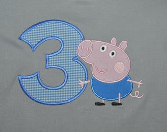 Peppa Pig/George #3 Applique Shirt- Portion of Sales Donated to Cure SMA