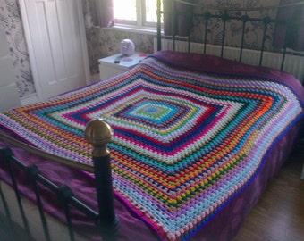 Custom made multi coloured hand crochet throws/afghans/throws