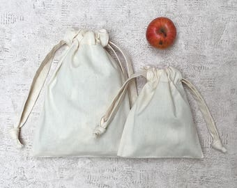 smallbags beige canvas - 2 sizes - reusable thick cotton bags - zero waste