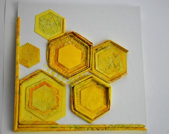 Layered Collage on Canvas Board Mixed Media Hexagons in Bright Sunshine Lemon Yellow