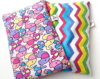 2 BooBoo Saks, Keep them in the freezer to soothe their bumps and bruises!  Microwaveable Flax Heating Pads for Children.