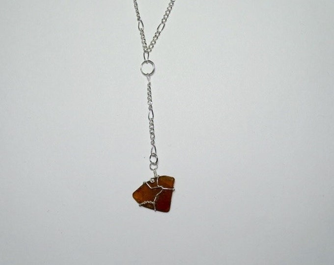 Delicate - Y necklace - Wire Wrap - For Girlfriend - For Wife -Beach Glass Y Necklace - Gift for her -Brown Beach Glass Wire Wrapped