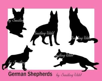 German Shepherd silhouette svg clipart hound dogs for scrapbooking dog vector graphic Instant Download deutscher Schäferhund png print