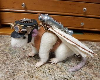 Steampunk Companion, Steampunk Rat, Needle Felted Rat, Needle felt creature, Steampunk Jet Pack
