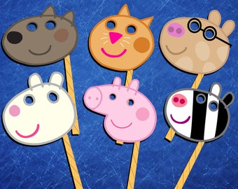12 Peppa Pig masks/ photobooth props for Peppa Pig birthday party, high resolution (300dpi), digital files only