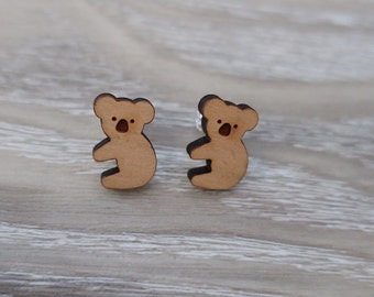 Cute Wooden Koala Earrings