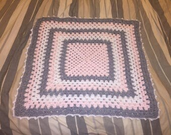 Crochet Baby Blanket, Granny Square, Pink Gray & White Baby Blanket, Girl Baby Blanket, Baby Blanket Crochet