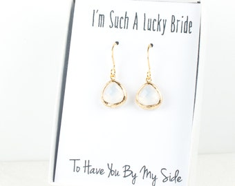 Tiny White Opal Gold Earrings, Gold White Opal Earrings, Opal Wedding Jewelry, Bridesmaid Gift, Bridesmaid Earrings, Opal Bridal Accessories