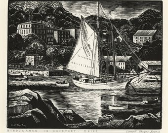 """CARROLL THAYER BERRY (American, 1886-1978), """"Windjammer in Rockport - Maine"""", 1946, wood engraving, pencil signed."""