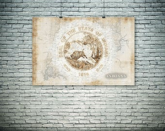 Indiana print, Indiana State seal,Indiana wall art, old map, patriotic gift, unique graphic collage, state symbol .