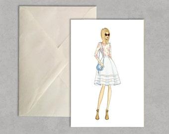 Sweet Sweater Florals - fashion illustration, greeting card, fashion card,