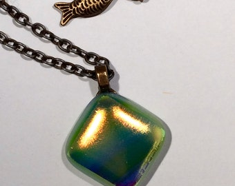 Pale green fused glass pendant