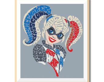 BOGO FREE! Harley Quinn. Girl Power Cross Stitch Pattern, Instant Download,Cross Stitch Chart, Needlecraft Embroidery Needlework , #40