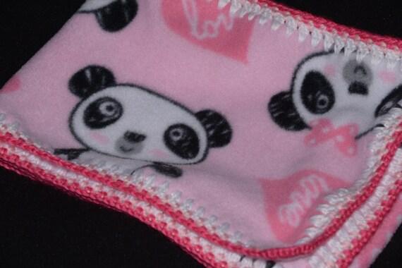 Panda Bear Love Pink Fleece Scarf