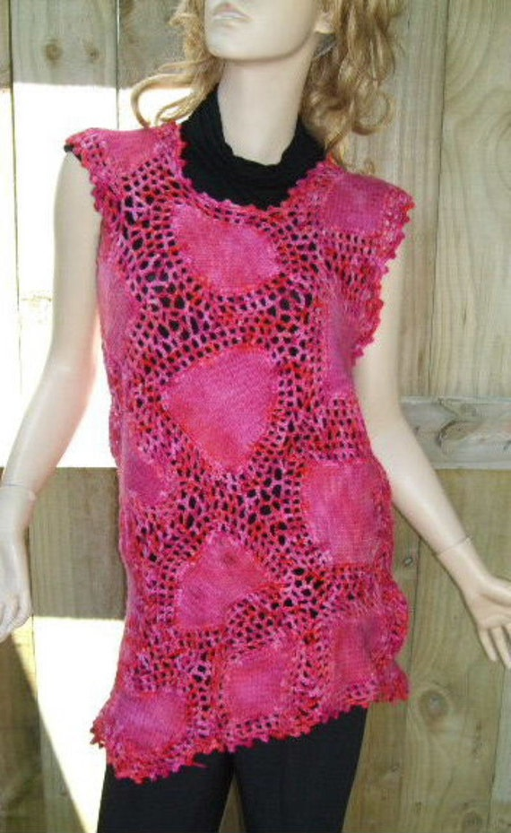 Fushcia Freeform Crochet & Felted Tunic