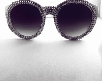 Personalized custom crystalized round rhinestone diamond bling beauty sunglasses