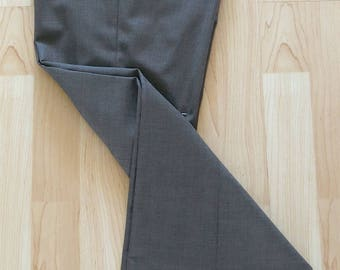 Upcycled Grey Wool Slacks with Burgundy Chevrons Size 6
