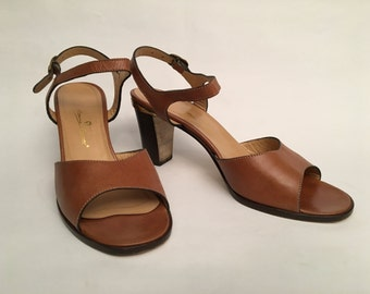 80s leather sandals - size 38.5
