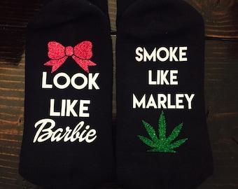 Weed Smoke like Marley Look  glitter Socks READY to SHIP Girl Stoner