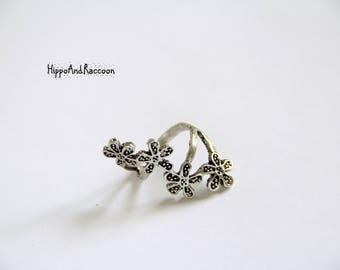 Sakura ring, silver flower ring, silver jewelry, flower jewelry, japanese jewelry, silver ring, sterling silver ring, bridesmaid gift