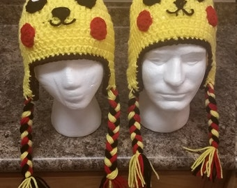 Hand crochet Pikachu hat