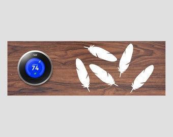 Nest Thermostat Wooden Wall Plate - Feathers