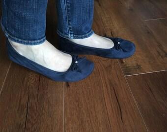 Handmade navy unique design slippers, ballet flats, foldable flats