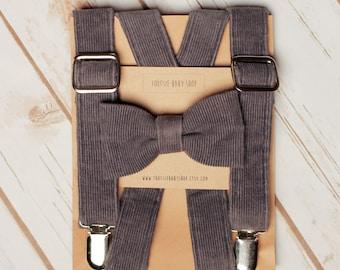 Gray Corduroy Bow Tie and Suspender Set