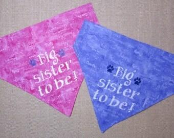 Pregnancy annoucement dog bandana/Big sister to be dog bandana/Pregnancy surprise announcement/Personalized dog bandana