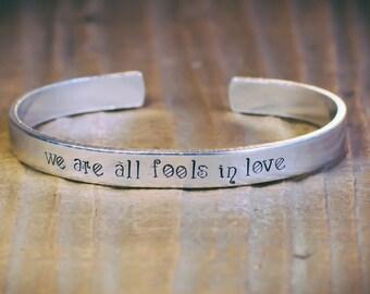 We Are All Fools In Love / Literary Jewelry / Quote Jewelry / Romantic Jewelry / Romantic Gift / Pride and Prejudice / Jane Austen