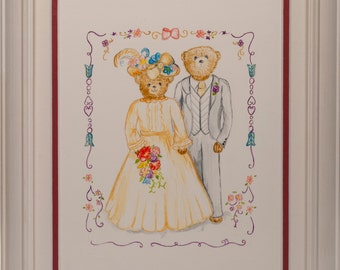 Gouache Painting - Teddy Bear Wedding - Framed - Picture Ref: 15