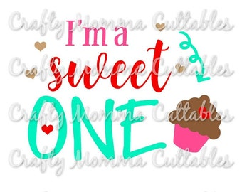 Sweet to be ONE SVG file // First Birthday Svg // 1st birthday Cut File // She's a sweet One Silhouette File // Cutting File // SVG file