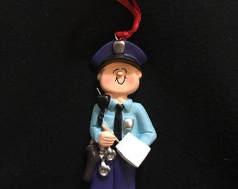 Personalized police officer Christmas ornament