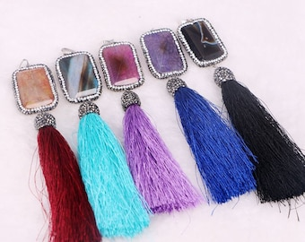 6pcs Crystal Agate Stone with Silky Tassel Pendant, Boho Pendant, Long Tassel Jewelry